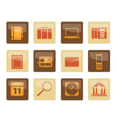 business office and mobile phone icons over brown vector image