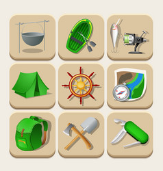 Camping color icons vector