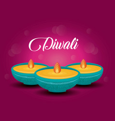 candles diwali festival isolated icon vector image