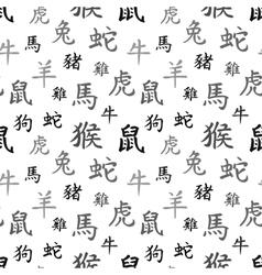 Chinese zodiac symbols black hieroglyphs vector image