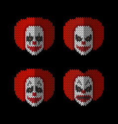 clown knitted flat icons set of different emotion vector image