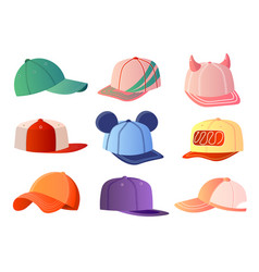 colorful baseball caps set isolated on white vector image