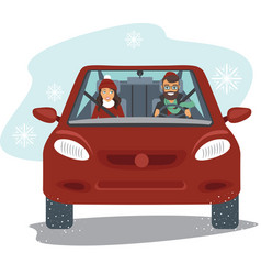 Couple riding car in winter vector