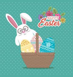 Cute rabbit happy easter card vector