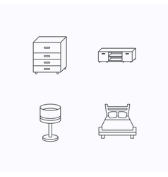 Double bed table lamp and TV table icons vector image
