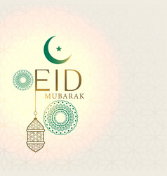 Elegant eid mubarak greeting with hanging lantern vector