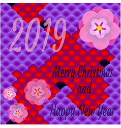 festive postcard in oriental style merry christmas vector image