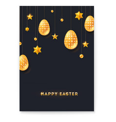 festive poster with greeting for happy easter vector image