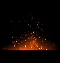 Fire sparks and particles on dark backdrop vector