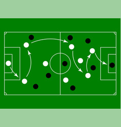 Flat green field with soccer game strategy vector
