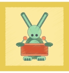 flat shading style icon Kids rabbit drummer vector image