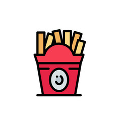 fries fast food food usa flat color icon icon vector image