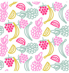Fruits doodles cute seamless pattern vector