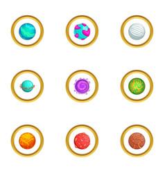 Galaxy planet icons set cartoon style vector