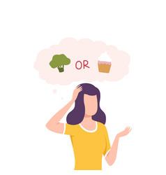 girl trying to make decision broccoli or cupcake vector image