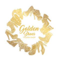 golden shoes collection sign creative trendy logo vector image