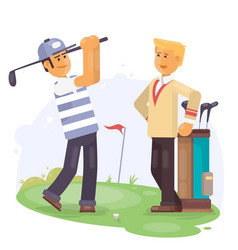 Golfing friends holding clubs at golf course vector