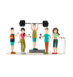 Gym people flat icon set vector