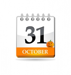 Halloween calendar with pumpkin vector