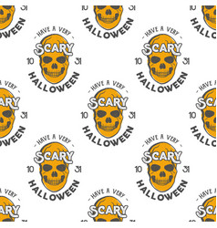 halloween skulls seamless pattern with holiday vector image
