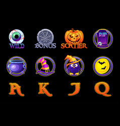 halloween slots icons set icons for slots machine vector image