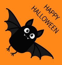 happy halloween flying bat vampire cute cartoon vector image