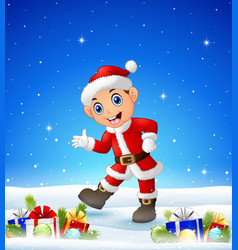 happy kid wearing santa costume in the winter back vector image