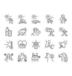 heatstroke line icon set vector image