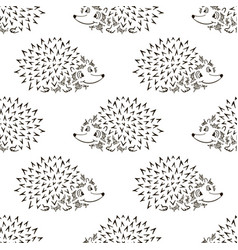 hedgehog sketch seamless pattern funny cartoon vector image
