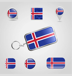 iceland country flag on keychain and map pin vector image