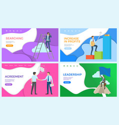 Leadership and searching for new ideas posters vector