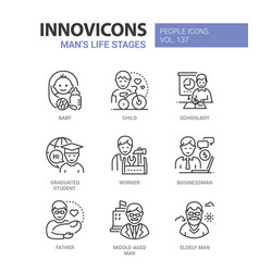 Life stages a man - line design style icons set vector