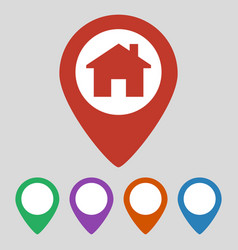 location icon flat with house on grey background vector image