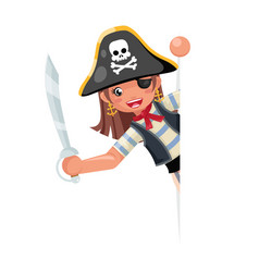 Look out corner pirate party cute girl child vector