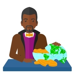 Man with globe full of money vector image