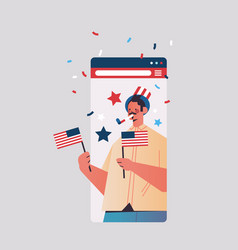 Man with usa flags celebrating 4th july vector