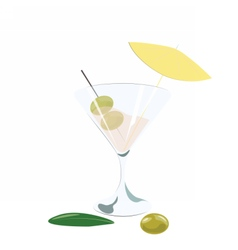 Martini cocktail with olives vector