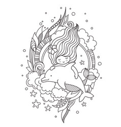 Mermaid swimming among seaweed and clouds with vector