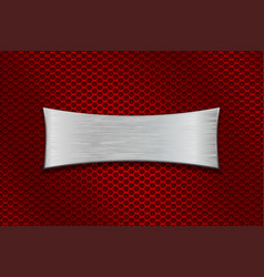 Metal scratched plate on red perforated background vector