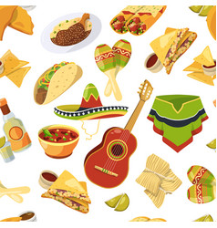 mexican food seamless pattern on white vector image