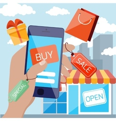 Mobile marketing and shopping concept vector image