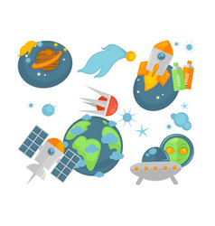 modern spacecrafts and cosmic planets isolated vector image