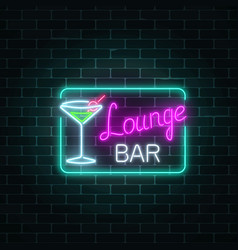 Neon cocktails lounge bar sign in rectangle frame vector