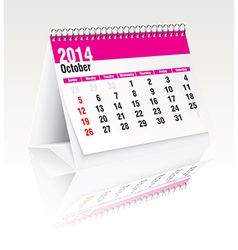 October 2014 desk calendar vector