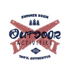 outdoor activities retro poster summer authentic vector image