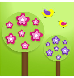 Paper trees with colorful flowers vector