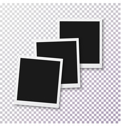 Photo realistic instant photo frame template vector