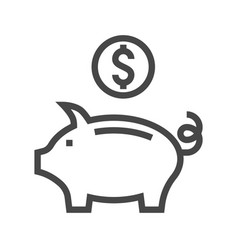 piggy bank thin line icon vector image vector image