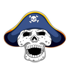 pirate skull and cocked hat vector image