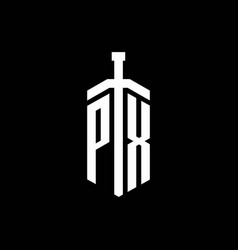 px logo monogram with sword element ribbon design vector image